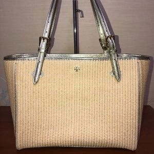 Tory Burch Wicker Handbag Tote - Silver Lining